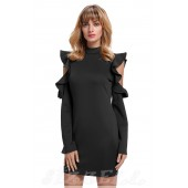 "THE ""LYNN"" MODERN RUFFLED COLD SHOULDER LUXE DRESS...  BLACK..."