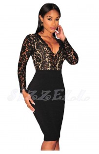 "THE "" NEEVE"" LUXE FLORAL LACE BLACK MIDI DRESS..."
