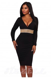 "THE "" KIMBERLY"" LUXE EMBELLISHED WAIST DEEP -V NECKLINE BODYCON DRESS...  BLACK..."