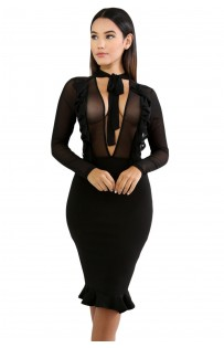 "THE ""RIMMY"" SHEER DREAM CHIC & ULTRA SEXY LUXE BODYCON MIDI DRESS..."