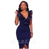 "THE ""BIANCA"" EMBROIDERED RUFFLE WRAP LUXE DRESS... BRIGHT NAVY..."