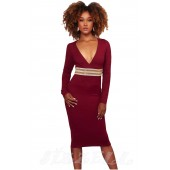 "THE "" KIMBERLY"" LUXE EMBELLISHED WAIST DEEP -V NECKLINE BODYCON DRESS...  BERRY..."