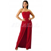 "THE ""GEM"" STRAPLESS SLIT LEG UTRA CHIC LUXE JUMPSUIT...  RED..."