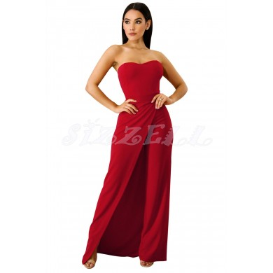 """THE """"GEM"""" STRAPLESS SLIT LEG UTRA CHIC LUXE JUMPSUIT...  RED..."""