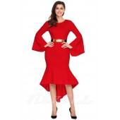 "THE ""ELISE"" BELL SLEEVED DIP HEM LUXE MIDI DRESS W/ GOLD METAL BAR BELT...  RED..."