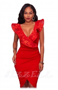 "THE ""BIANCA"" EMBROIDERED RUFFLE WRAP LUXE DRESS... RED..."