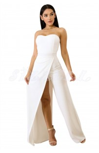 "THE ""GEM"" STRAPLESS  SLIT LEG  UTRA CHIC LUXE JUMPSUIT... WHITE..."
