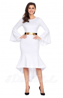 "THE ""ELISE"" BELL SLEEVED DIP HEM LUXE MIDI DRESS W/ GOLD METAL BAR BELT... WHITE..."