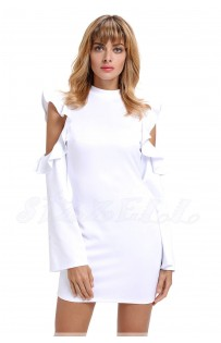 "THE ""LYNN""  MODERN RUFFLED COLD SHOULDER LUXE DRESS... WHITE..."