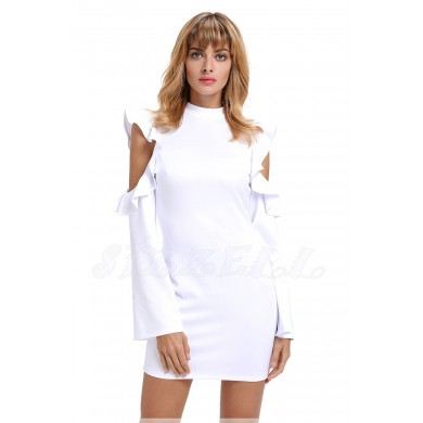 """THE """"LYNN""""  MODERN RUFFLED COLD SHOULDER LUXE DRESS... WHITE..."""