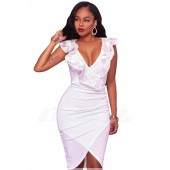 "THE ""BIANCA"" EMBROIDERED RUFFLE WRAP LUXE DRESS... WHITE..."