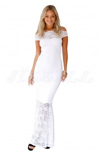 "THE ""CAMILLE""  BARDOT LUXE LACE  MAXI DRESS... WHITE..."
