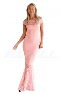 "THE ""CAMILLE"" BARDOT LUXE LACE MAXI DRESS... SUGAR PINK..."