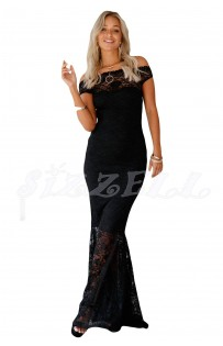 "THE ""CAMILLE"" BARDOT LUXE LACE MAXI DRESS... BLACK..."