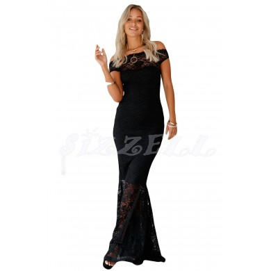 """THE """"CAMILLE"""" BARDOT LUXE LACE MAXI DRESS... BLACK..."""