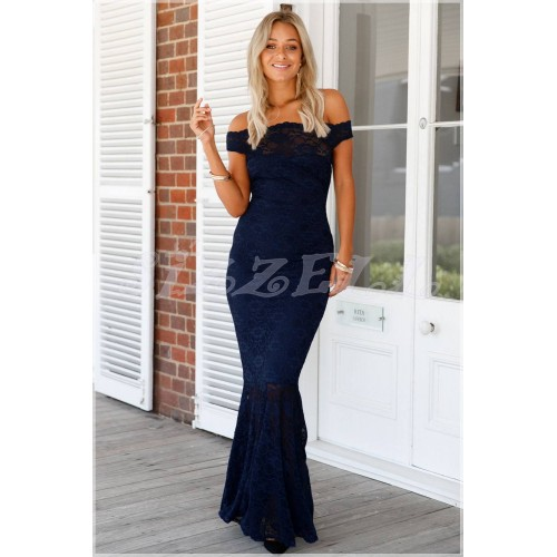 "THE ""CAMILLE"" BARDOT LUXE LACE MAXI DRESS... NAVY..."