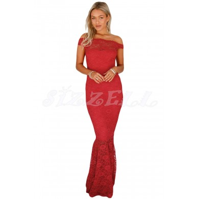 "THE ""CAMILLE"" BARDOT LUXE LACE MAXI DRESS... RED..."