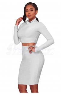 "THE ""SHARRON""  LUXE SILVER/WHITE CROP TOP & BODYCON SKIRT..."