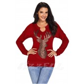 "THE ""BECCA"" SEQUIN DEER LUXE SWEATSHIRT TOP... WINTER RED..."