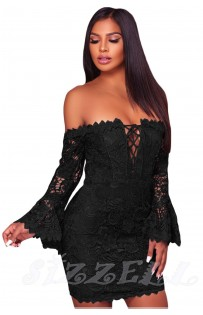 "THE ""VALARIE"" LUXE LACE OFF SHOULDER FRONT LACE-UP MINI DRESS W/ FLIRTY BELL SLEEVES... BLACK..."