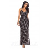 "THE ""EVITA"" SILVER SEQUINS LUXURY BLACK MAXI DRESS..."