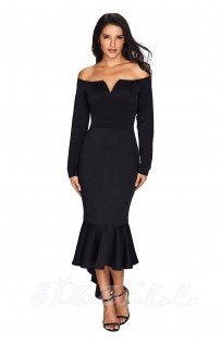 "THE ""LYDIA"" OFF SHOULDER MERMAID HEM LUXE DRESS... BLACK..."