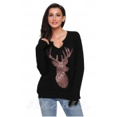 "THE ""BECCA"" SEQUIN DEER LUXE SWEATSHIRT TOP... BLACK..."