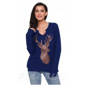 "THE ""BECCA"" SEQUIN DEER LUXE SWEATSHIRT TOP... BRIGHT NAVY..."