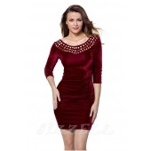 "THE ""EVE"" LUXE VELVET MADALLION CUTOUT NECKLINE DRESS...  BURGUNDY CRUSH..."