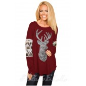 "THE ""REIN"" LUXE SEQUIN DEER HEAD TOP... BURGUNDY/ SILVER SEQUIN..."