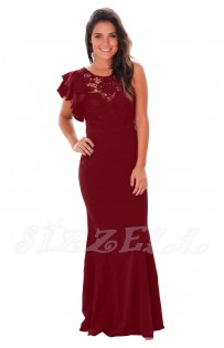 "THE ""JEN"" RUFFLED SLEEVE CROCHET TOP FLOOR LENGTH LUXE MAXI DRESS... POMEGRANATE.."