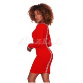 "THE ""AMILIA"" LUXE SLEEK  ELEGANT PEARL & RHINESTONE DETAILED DRESS... RED..."