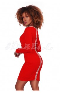 "THE ""AMILIA"" LUXE SLEEK  ELEGANT PEARL & RHINESTONE DETAILED DRESS... RED..."