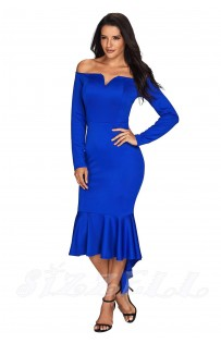"THE ""LYDIA"" OFF SHOULDER MERMAID HEM LUXE DRESS...  ROYAL BLUE..."