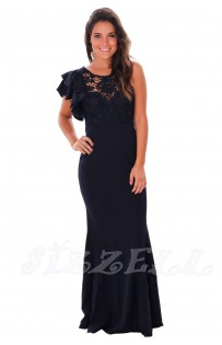 "THE ""JEN"" RUFFLED SLEEVE CROCHET TOP FLOOR LENGTH LUXE MAXI DRESS... NAVY..."
