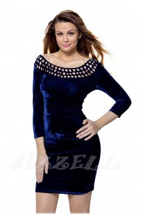 "THE ""EVE"" LUXE VELVET MADALLION CUTOUT NECKLINE DRESS... NAVY CRUSH..."