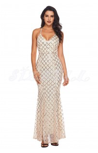 "THE ""EVITA"" ROSE GOLD SEQUINS LUXURY WHITE MAXI DRESS..."
