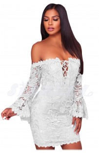 "THE ""VALARIE"" LUXE LACE OFF SHOULDER FRONT LACE-UP MINI DRESS W/ FLIRTY BELL SLEEVES... WHITE"