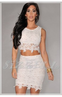 "THE ""MIAMI""  LACE  CROP TOP & SKIRT SET..."
